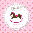 Stock Vector: Vector Rocking Horse Baby Card