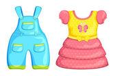 矢量婴儿男孩和女孩打扮 — 图库矢量图片