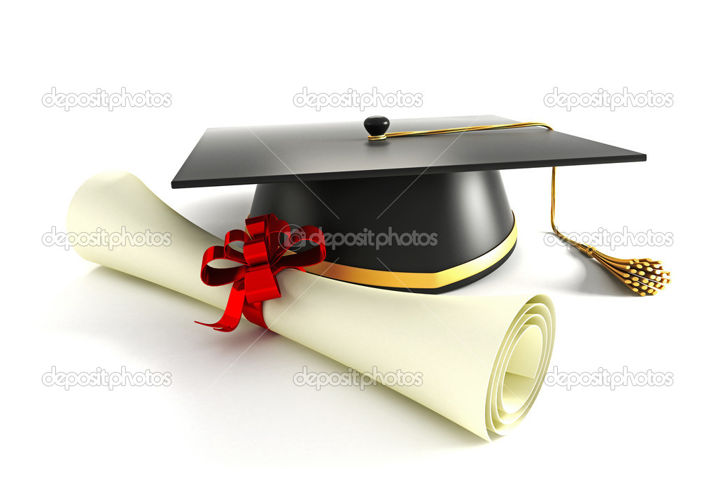 3d image of mortar board with degree against white background — Stock Photo #10475219