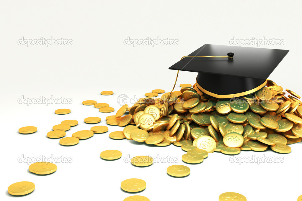 3d image of mortar board on hip of gold coin against white background — Stock Photo #10475271