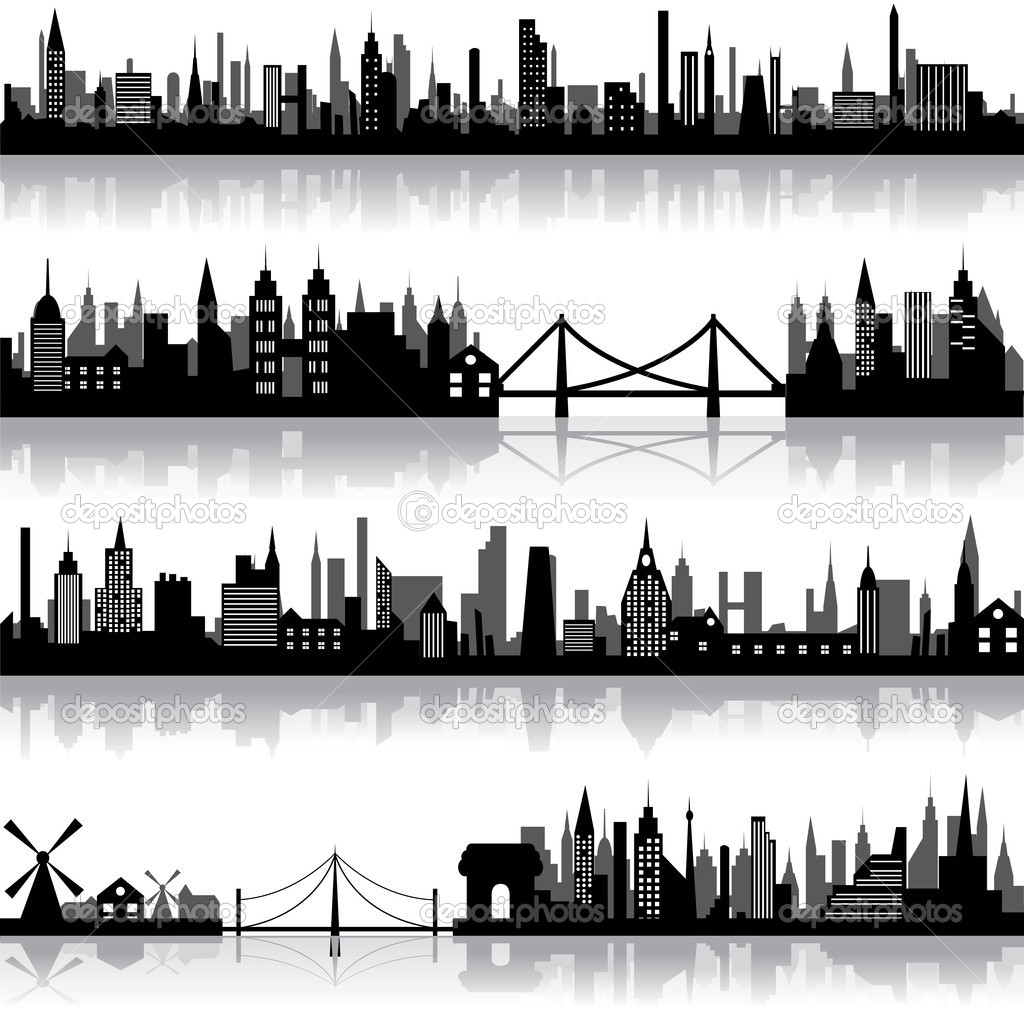 Vector illustration of silhouette of city scape — Stock Vector #10473648