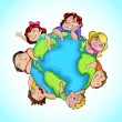 Stock Vector: Kids around Globe
