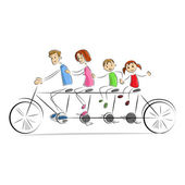 Fmaily enjoying Bicycle Ride — Stock Vector