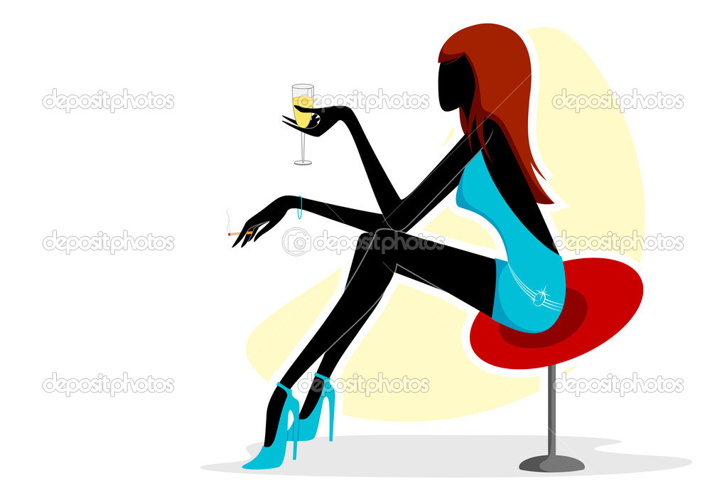 Vector illustration of urban lady sitting in couch — Stock Vector #9245808