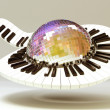 Piano Key around Disco Ball - Stock fotografie