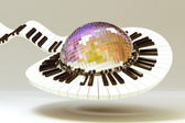 Piano Key around Disco Ball — Stock Photo