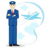 Airplane Pilot — Stock Vector