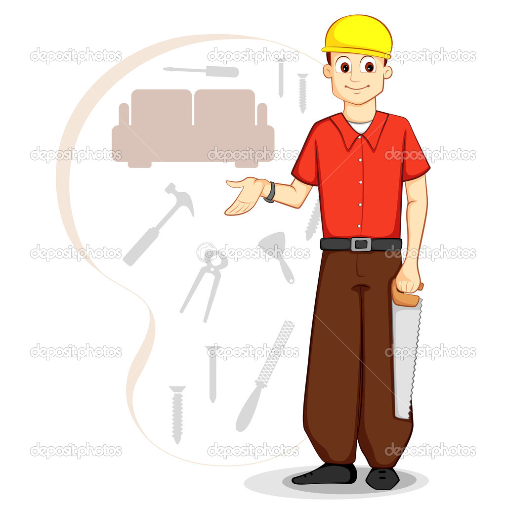 Vector illustration of carpenter with saw and tools — Stock Vector #9661890