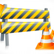 Vector Road Barrier with Cone and Hardhat — Stock Vector #9978564