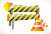Vector Road Barrier with Cone and Hardhat — Stock Vector