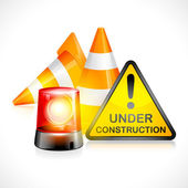 Vector Under Construction Cone and Flashing Light — Stock Vector