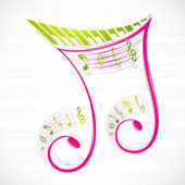 Floral Musical Note — Stock Vector
