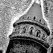 Stock Photo: Black and white textured tower silhuette