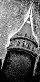 Black and white textured tower silhuette — Stock Photo