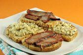 Bacon and cheese tapas — Stock Photo