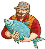 Fisherman With Fish — Stock Vector