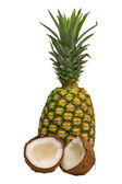 Pineapple and coconut isolated — Stock Photo