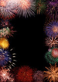 Colorful fireworks frame — Stock Photo