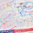 "Passport with US visa and ""admitted"" stamps - Stock Photo"