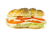 Simple vegetarian sandwich on white background — Stock Photo