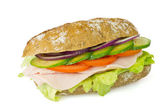 Healthy wholegrain sandwich isolated — Stock Photo