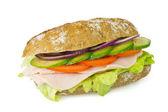Healthy wholegrain sandwich isolated — Stock Photo