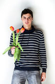 Man with tulips — Stock Photo
