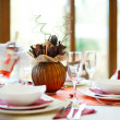 A laid red restaurant table — Stock Photo