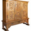 Stock Photo: Old classic wooden dresser with handmade woodcarvings