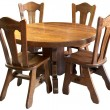 Stock Photo: Solid wood kitchen table set, isolated