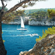 Stock Photo: Boat in calanque of Cassis, France