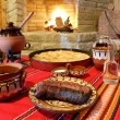 Traditional Bulagrian food on table — Foto de Stock