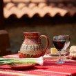 Stock Photo: Wine, cheese and saussage on table