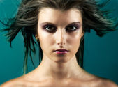 Fashion girl head with blown hair — Stok fotoğraf