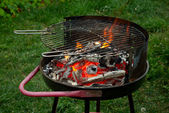 Fire in a charcoal grill — Stock Photo