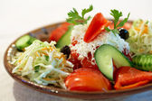 Vegetable salad with Bulgarian white Feta cheese — Stock Photo