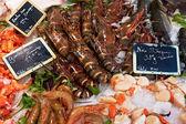 креветки на рыбный рынок — Стоковое фото
