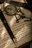 Montblanc pen and a watch — Stock Photo