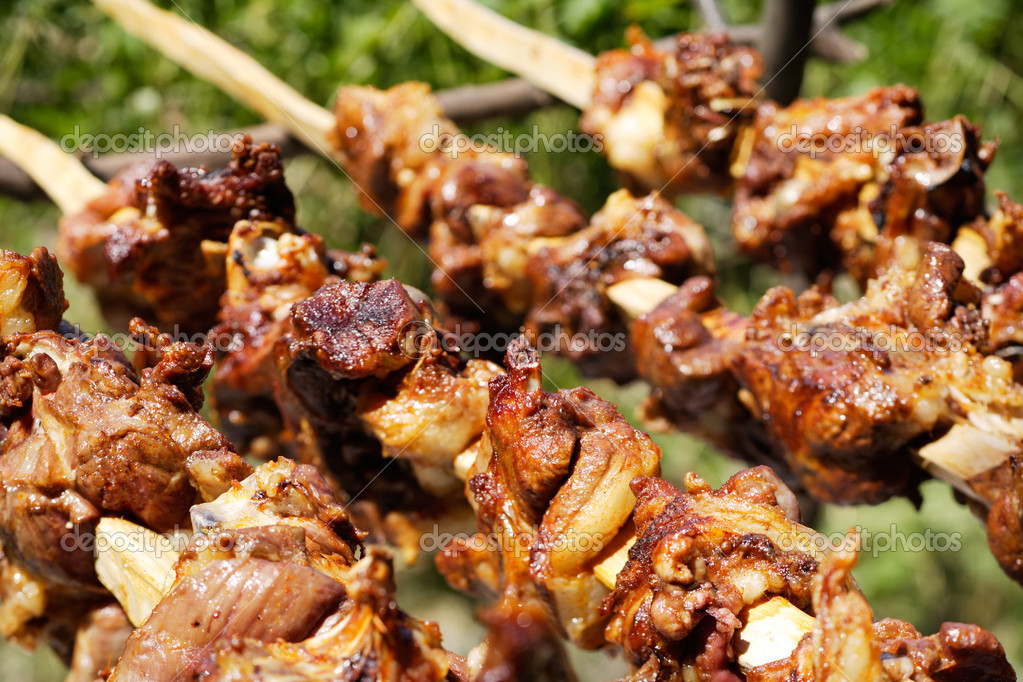 Roasting lamb meat on broach — Stock Photo #9150174