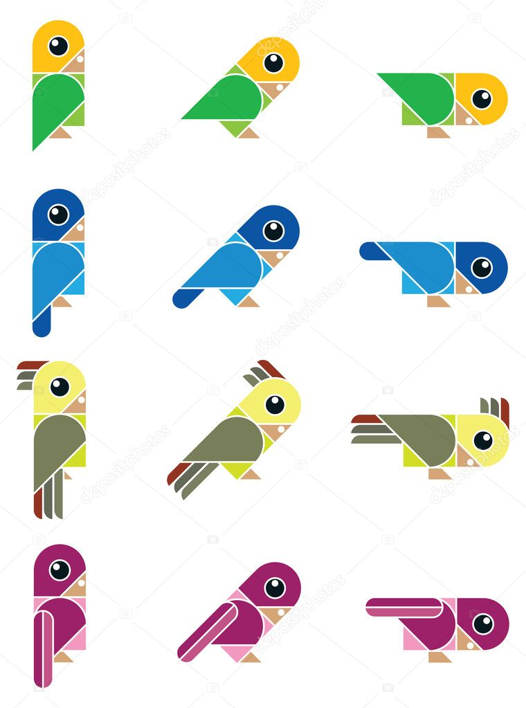 Isolated vector illustration with funny colored birds — Stock Vector #10429397