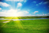 Sun rising above a field — Stock Photo