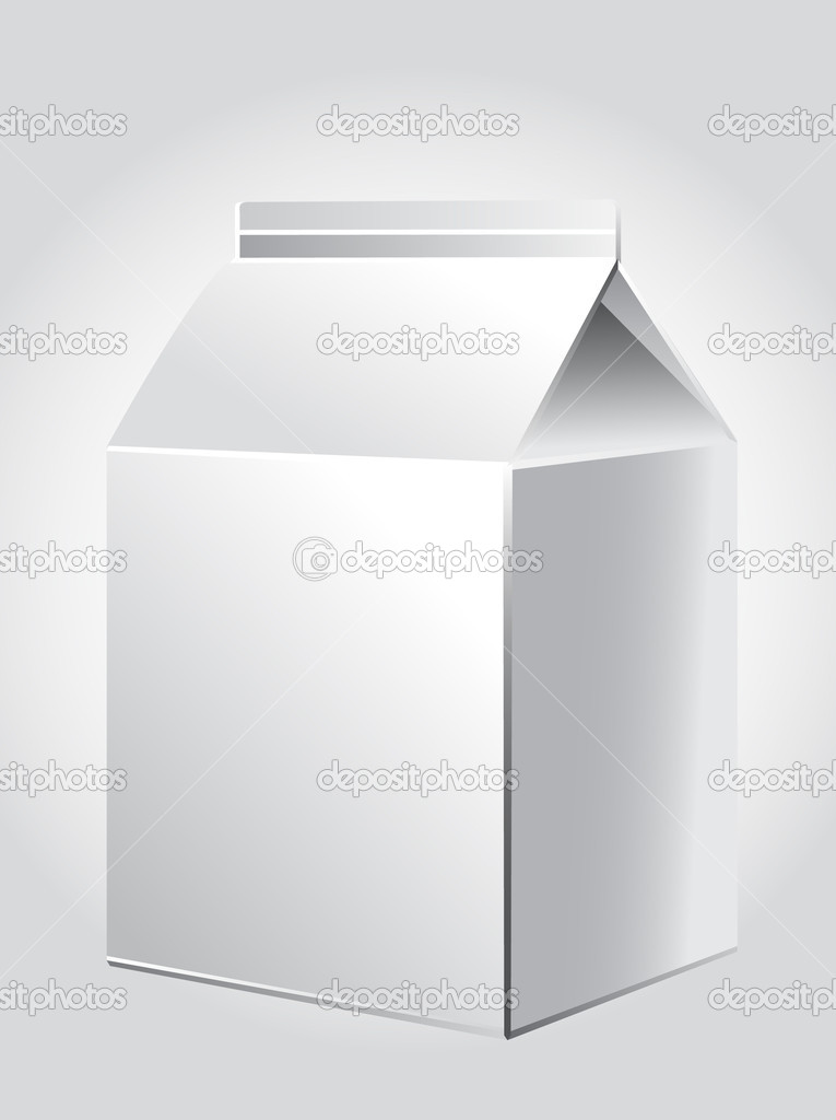 White package for juice, milk, paper packing for products, store illustration — Stock vektor #9123568
