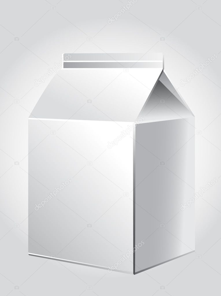 White package for juice, milk, paper packing for products, store illustration — Stok Vektör #9123568