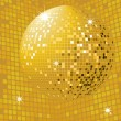 Shiny gold disco ball — Stock Vector
