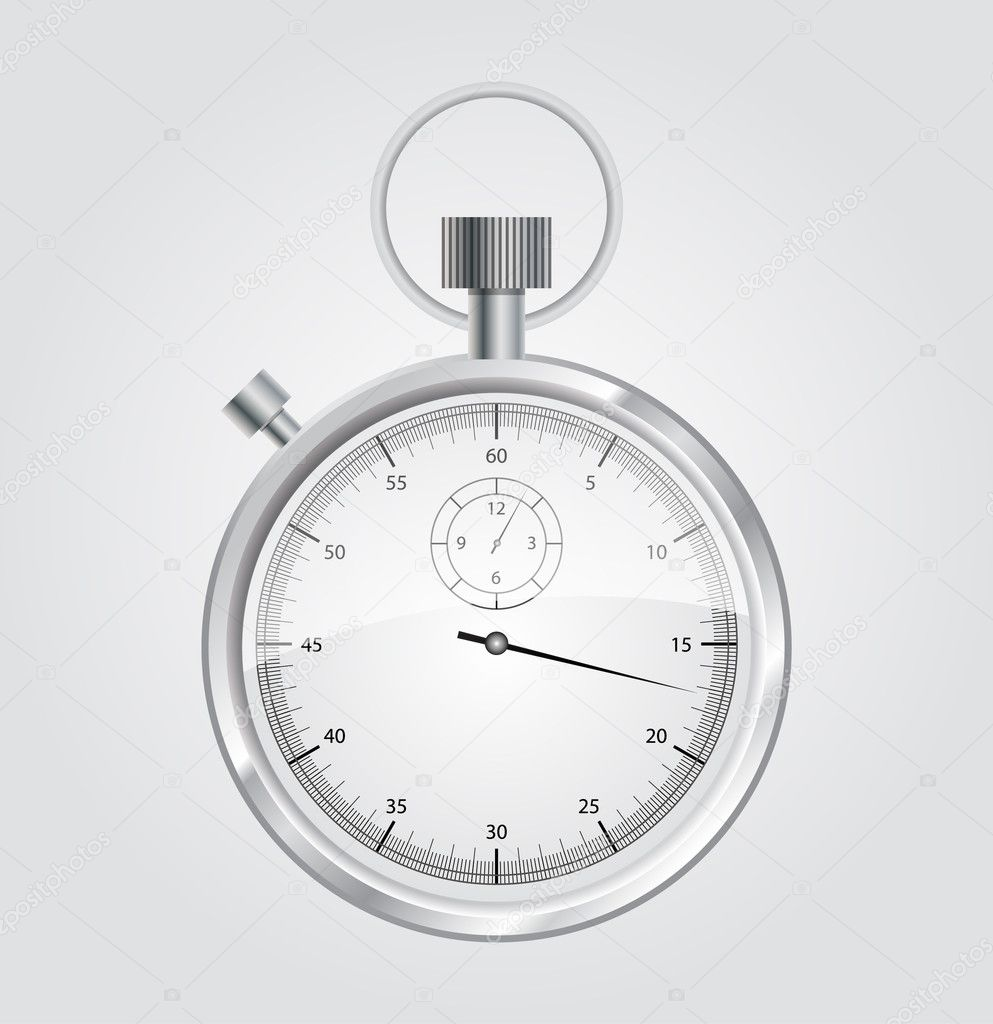 Vector stopwatch mechanic chromed. stopwatch vector illustration. Front view. — Stock Vector #9545169