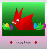Happy Easter origami bunny card — Stock Vector