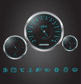 Vector realistic car dashboard — Stock Vector