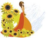 Girl_sunflower — Stock Vector