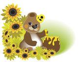 Bear_honey — Stock Vector