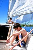 A ship boy on a deck of a yacht — Stock Photo